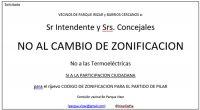 SOLICITADA - NO AL CAMBIO DE ZONIFICACIÓN